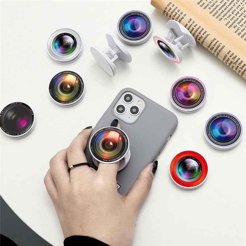 New Camera Lens Expanding Phone Stand Grip Finger Ring Support Anti-Fall Round Foldable Phone Holder For Samsung Huawei Xiaomi
