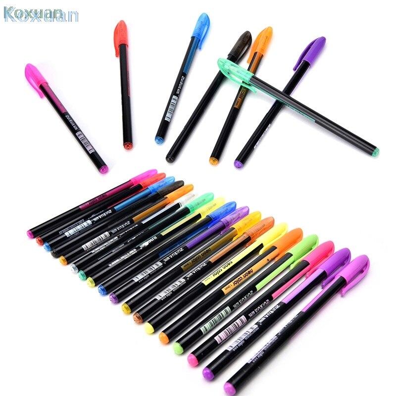 48 Цвет s гель заправки для ручек Ручка-роллер пастельных неоновый блеск эскиз цветная ручка для рисования набор маркеров маркер для манги ...