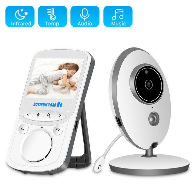 Wireless LCD Audio Video Baby Monitor Radio Nanny Music Intercom IR 24h Portable Baby Camera Baby Walkie Talkie Babysitter VB605
