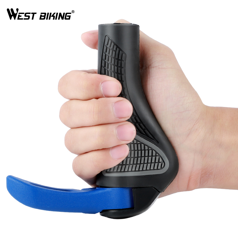WEST BIKING MTB Bike Grips Anti-Skid Ergonomic Bicycle Grips Bike Bar ends Handlebars Rubber Push On Bicycle Parts Cycling Grips 6