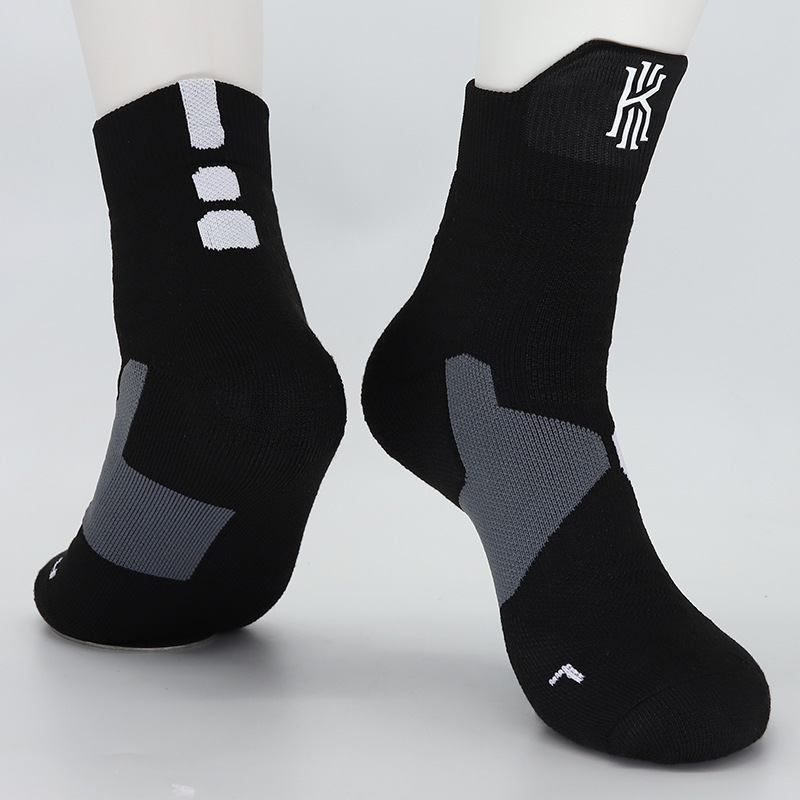 Adult Size Mid Calf Crew Socks Kyrie Andrew Irving Dark Black Basketball Sport Athletic High Quality Team Men Women Breathable