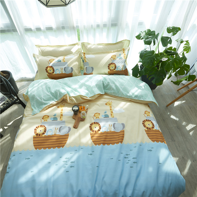 Korean Style Pastoral Style Hipster Activity Printed Beddings Quilt Cover Simple Cartoon Cute Four-piece Bed Sheet Set