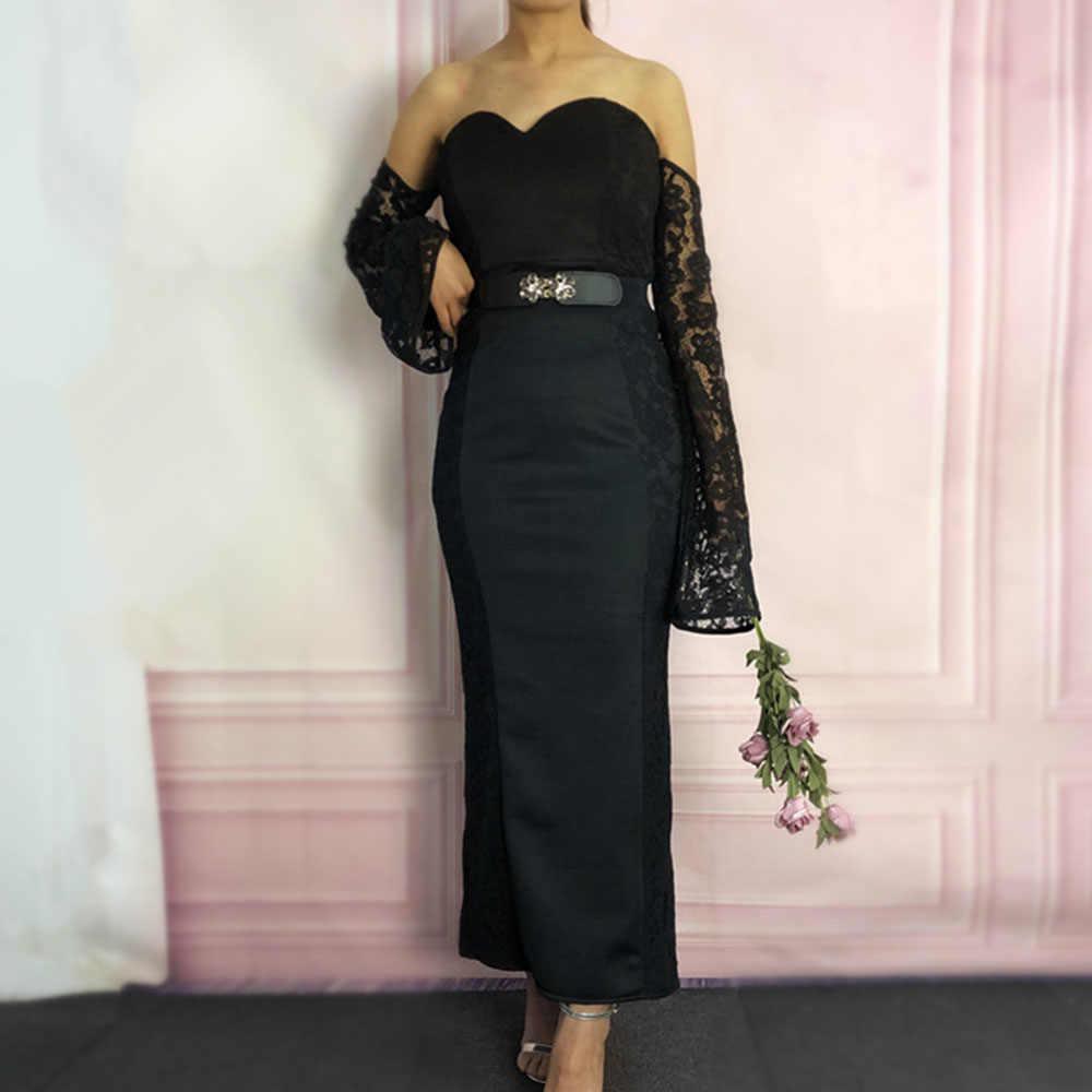 נשים חתונה מסיבת תחרה שמלה סקסית סטרפלס בת ים ארוך שרוולים אלגנטי גבירותיי שחור ערב כבוי כתף שמלה לנשף ארוך