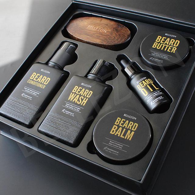 Blue ZOO 8Pcs/set Men Beard Care Kit Beard Shaving Cream Aftershave Cleaning Care Nourishing Shaping Male Beard Care Set 3