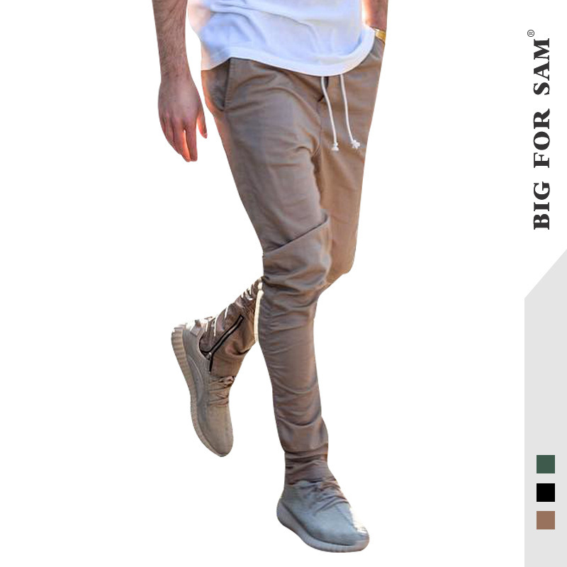 2019 Autumn New Style Popular Brand Solid Color Pleated Pants Feet Slit Pendant With Drawstring MEN'S Trousers MEN'S Casual Pant