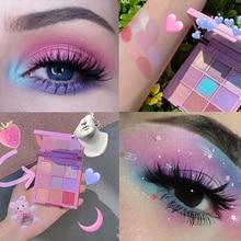 Eyeshadow-Palette Pastel-Pressed-Powder Makeup Shimmer Glitter 9-Colors Matte Velvet