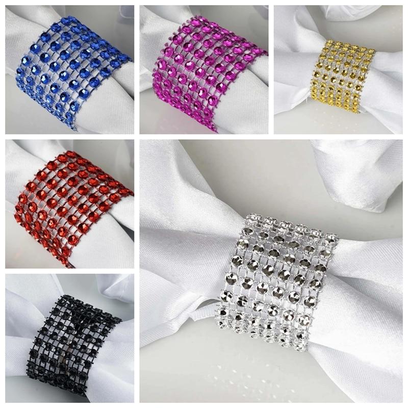Hebilla de diamante de imitación diamante para servilleta Silla de anillo banda lazo para decoración para evento de boda