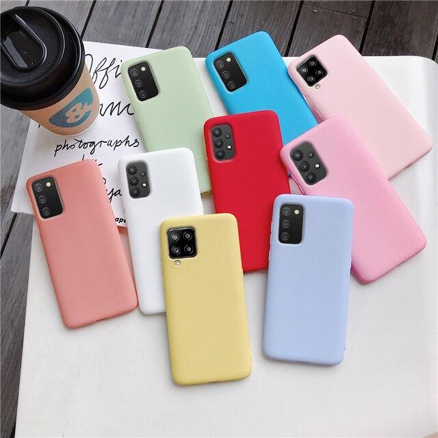 Candy Color Silicone Phone Case For samsung galaxy A12 A42 A52 A72 A32 5G M02S A02S M31s Matte Soft Tpu Back Cover Fundas Coque 2
