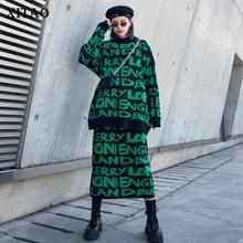 XITAO رسالة نمط بلوزة كاجوال قطعتين مجموعة النساء 2019 الخريف موضة جديدة نمط س طوق الرقبة طويلة الأكمام GCC2628