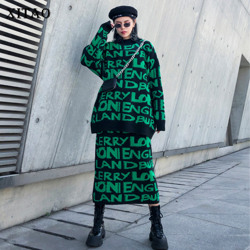 XITAO Letter Pattern Casual Pullover Two Pieces Set Women 2019  Autumn Fashion New Style O Neck Collar Long Sleeve GCC2628Womens Sets