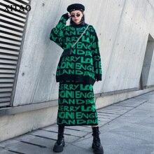 XITAO mektubu desen Casual kazak iki adet Set kadın 2019 sonbahar moda yeni stil O boyunluk uzun kollu GCC2628
