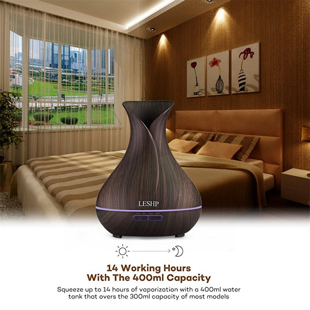 LESHP Vase Air Purifier Electric Oil Burner Aroma Diffuser Ultra-quiet Auto-off Humidifier Aromatherapy Dark Wood Grain
