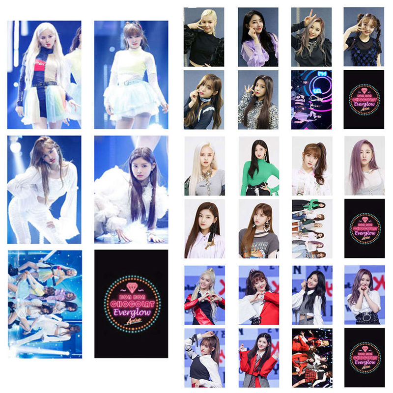 A Set Korean KPOP Everglow Album Set Double-sided Small Card Set Card PVC Cards Self Made LOMO Card Photo Card