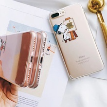 Creative puppy mobile phone case transparent ultra-thin cartoon protective cover for iphone 8plus 7 Plus 6 s 6s X XR XS max