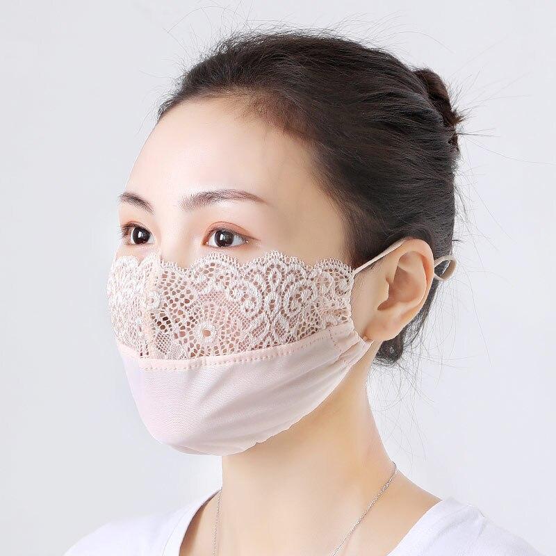3 шт., дышащие женские маски для лица, для девушек, кружевные, с цветочной вышивкой, защита от пыли, для велоспорта, Ветрозащитная маска для рт...