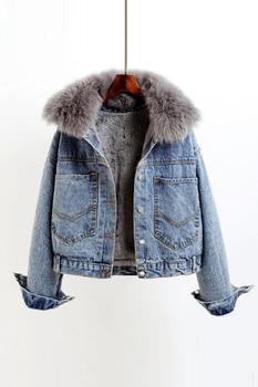 NIJIUDING 2020 Winter Casual Solid Real Fur Collar Denim Jacket Female Loose Single Breasted Plus