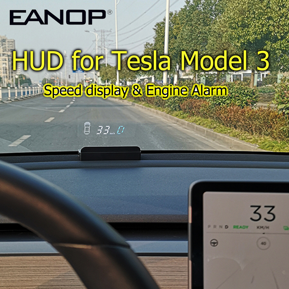 EANOP HUD E100 Head up display Speed Projector Speedometer Turning light Gear Guide Battery display for tesla model 3 car access
