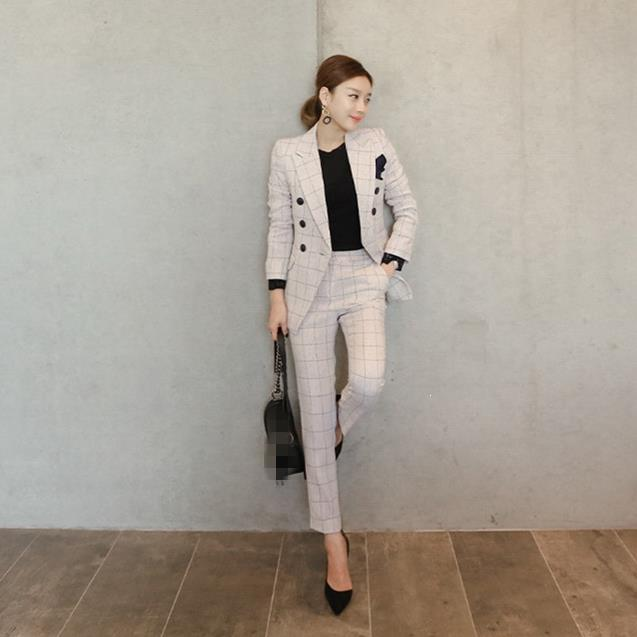 Autumn Jacket And Pants Blazer Suits Office Lady Double Button Two Pieces Suit Slim Plaid Women's Suit