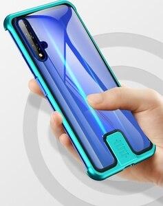 Image 2 - Fall Für Huawei Honor 20 Pro Nova 5T 5 Abdeckung Luxus Metall Bumper 9H Gehärtetem Glas Voll Schützen kimTHmall