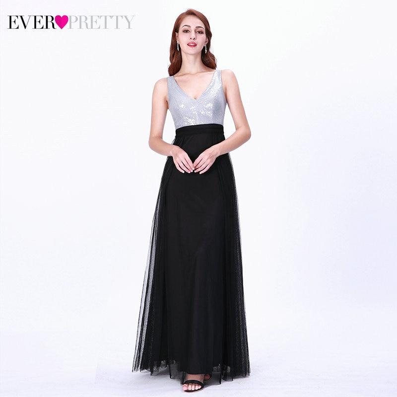 Sparkle Black Prom Dresses Ever Pretty Double V-Neck Sleeveless Sequined Tulle Elegant Formal Dresses For Party Vestidos De Gala