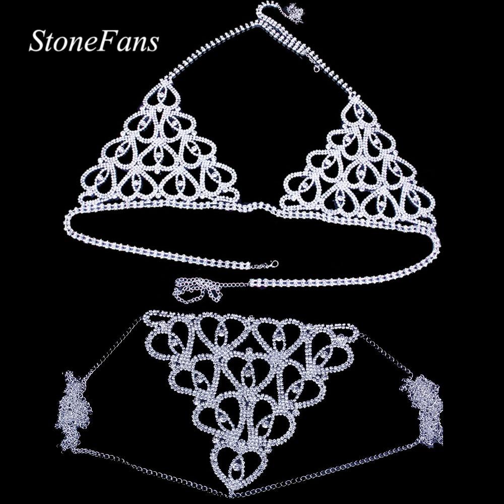 StoneFans Women Sexy Heart Rhinestone Bra Body Chest Chain Accessories Crystal Body Jewelry transparent Thong Panties Underwear