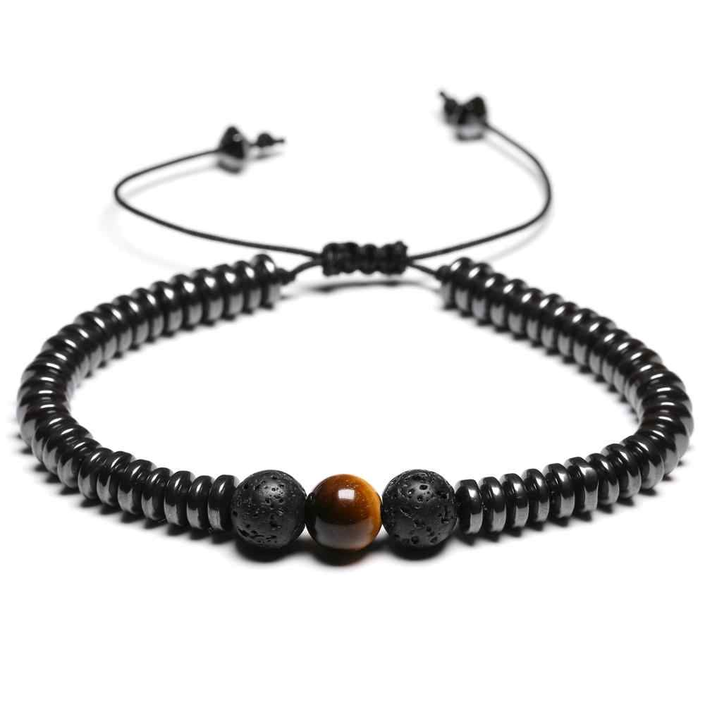 Frauen Armbänder Hämatit Geometrische Element Lava Obsidian Stein Perlen Armband Einstellbar Länge
