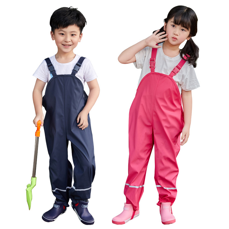 2020 Spring Baby Girls Rain Pants PU Waterproof Boys Overalls Windproof  Children's Jumpsuit Clothes for Kids Trousers