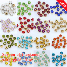 100p 3mm cor costurar em cristal de vidro diamante strass jóias copo de ouro garra montês 4 buraco costura contas de pedra diy artesanato roupas