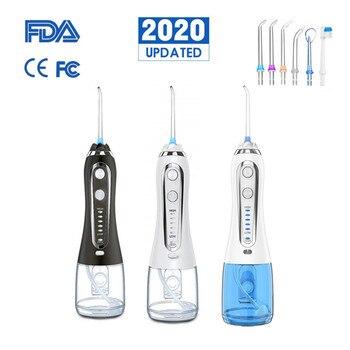 5 Modes Portable Oral Irrigator USB Rechargeable Dental Water Flosser Jet 300ml Irrigator Dental Teeth Cleaner+5 Jet Tips & Bag 1
