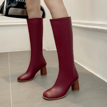 Plus Size 34-48 High Heels Knee High Boots Women PU Leather Winter Boots Women Long Boots Sexy Fashion Female Pumps Shoes Boots new long boots women fashion soft leather women s boots elegant knee high boots 2017 winter boots women comfortable shoes women