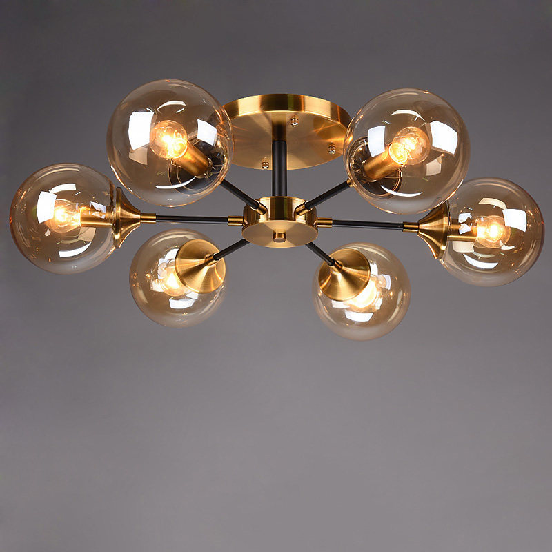 Modern Living Room LED Chandelier Smoke Grey/Clear Glass Dining Room Bedroom Pendant Lamp Gold Home Deco Hanging Light Fixtures