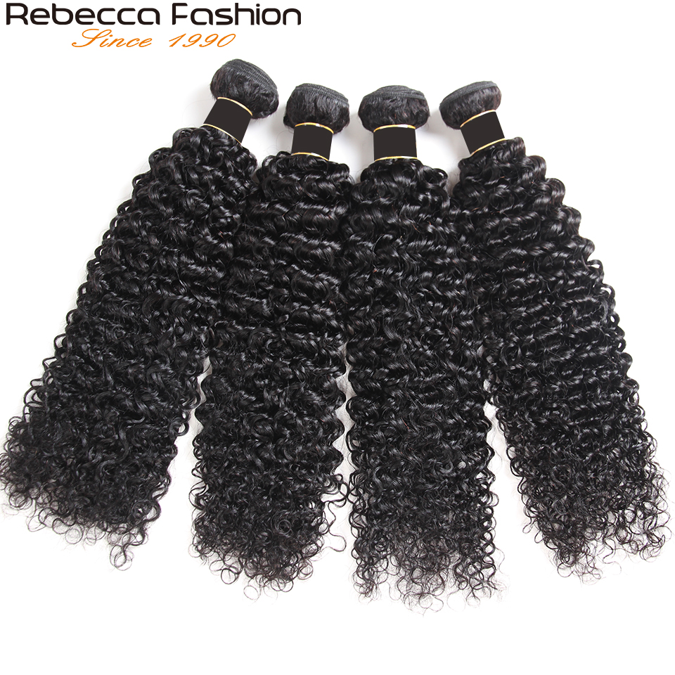 Rebecca Brasiliana Riccia Dei Capelli di 100% Remy Estensioni Dei Capelli 1/3/4 Bundle Deal 8 a 30 Inch Riccio crespo Tessuto fasci di Capelli umani