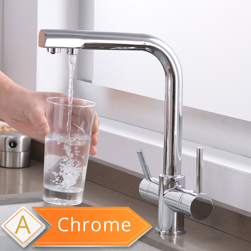 H4a1a51eda5ab41dc91169e1f4b853994F Black and Golden Filtered Crane For Kitchen Pull Out Sprayer drinking water Three Ways Water Filter Tap Kitchen Faucet hot cold