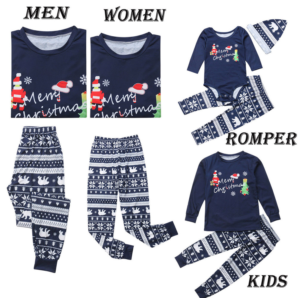 Christmas Matching Pajamas For Family PJs Set Dad Mom Kids Baby Xmas Soft Cotton Clothes Sleepwear Set Tops + Pants Outfits Sets