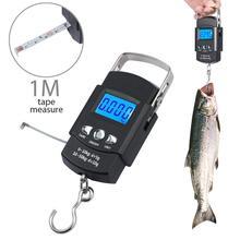 Электронные портативные весы BOBI 50 кг/10 г, портативные цифровые весы с ЖК дисплеем, дорожные ручные весы для взвешивания, весы для рыбалки