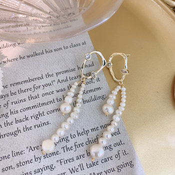 Handmade Fresh Water Pearls Drop Earrings Boho For Women Engagement Girls Party Vintage Pearl Jewellery Brinco image