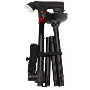 Image 2 - 82 94 センチメートル折りたたみ伸縮折りたたみ杖ledライトsosアラーム熟成ウォーキングスティック極屋外ハイキング極松葉杖