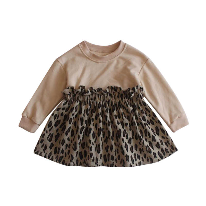 Baby Girl Clothes Girls Dress Spring Autumn Full Sleeves Leopard Patchwork Children Clothes Dress