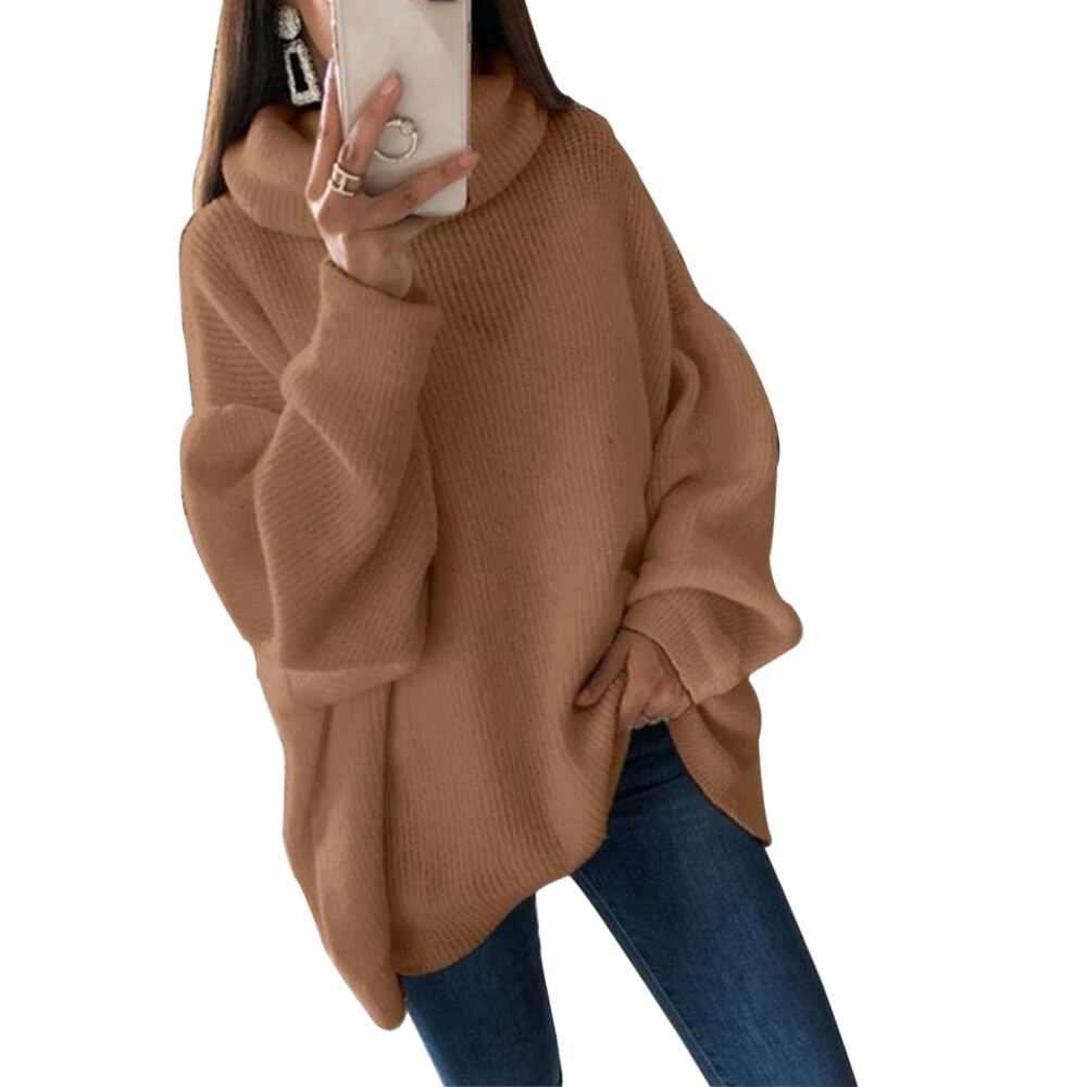 Sfit 패션 플러스 사이즈 2XL 니트 스웨터와 풀오버 여성 느슨한 터틀넥 롱 스웨터 Femme 니트웨어 점퍼 탑스