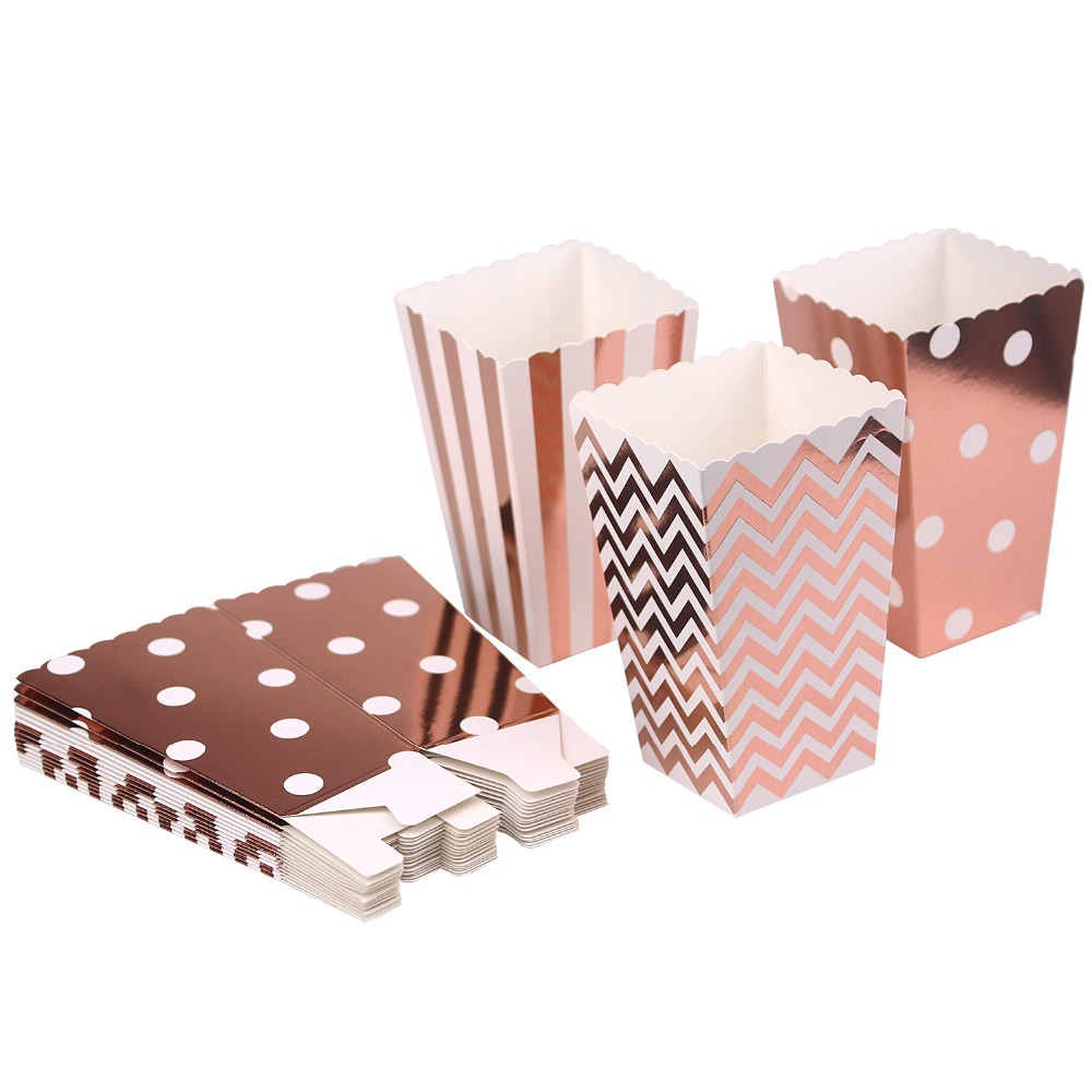 6PCS Party Paper Popcorn Boxes Rose gold Pop Corn Candy/Sanck bean packaging box Wedding Birthday Movie Party Tableware image