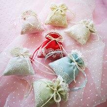 Sacs de fleurs séchées en coton et lin, 2 pièces, 9.5x12cm, emballage de bijoux, décoration de fête de mariage, sac de bonbons, pochette cadeau en dentelle florale