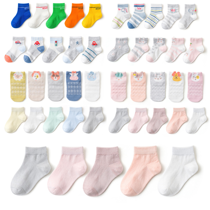 YWHUANSEN 5 Pairs/lot 1 To 12 Yrs Cotton Children's Socks Stereo Animals Summer Thin Kids' Mesh Socks Cute Girls Boys Socks
