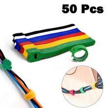 50 шт. игольчатые/Т-образные кабельные стяжки, застежка для кабеля, нейлоновый шнур питания, петля, лента, многоразовый органайзер для провод...