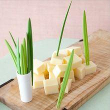 Вилка для фруктов 10 шт/компл креативная зеленая в форме бамбукового