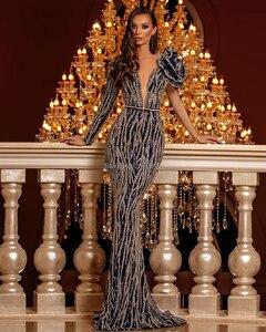 Image 3 - הוט קוטור V צוואר בת ים שמלת ערב נשלף חצאית באורך רצפת חרוזים פאייטים סלבריטאים שמלת חלוק דה Soiree Aibye 2020