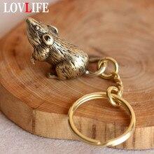 Latão zodíaco rato animal chaveiros de cobre cauda longa mouse carro chaveiro artesanal artesanato bronze bonito ratos saco pendurado pingente presentes