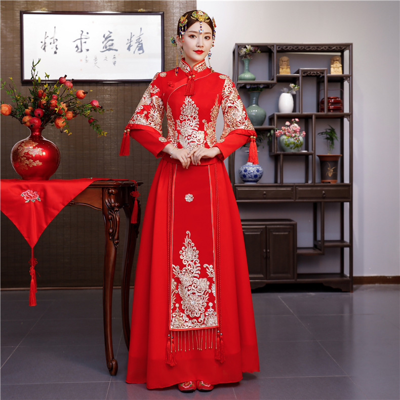 Style Wedding Dress Longfeng Existing Prospective Wedding Dress Show Kimono Banquet Toast XiuHe Clothing Wholesale