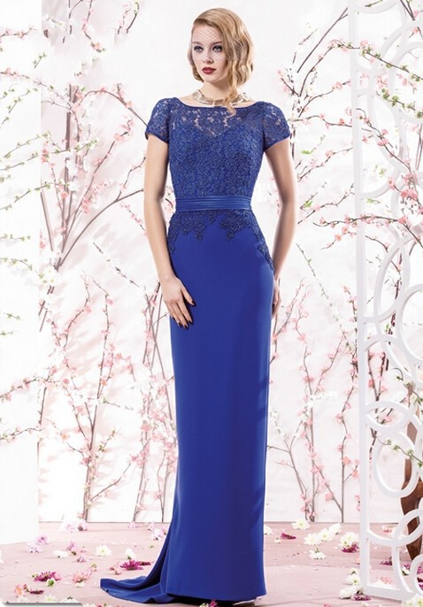 2015 Mother Of The Bride Dresses Royal Blue Scoop Short Sleeve Lace Top Aline Floor-Length Satin&Lace Mother Of The Dresses