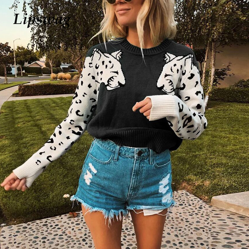 Lipswag Casual Print Leopard Knitted Sweater Women Streetwear O-neck Long Sleeve Pullovers 2019 New Autumn Winter Fashion Jumper