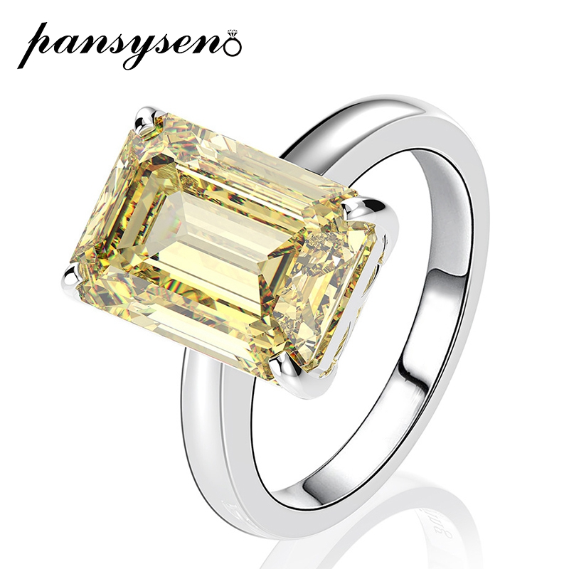 PANSYSEN New Fashion 10x14MM Citrine Quartz Gemstone Rings Solid 925 Sterling Silver Women Wedding Engagement Fine Jewelry Ring